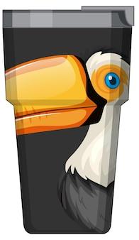 Eine schwarze thermoskanne mit tukan-vogelmuster