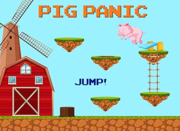 Eine schwein-sprung-spiel-schablone