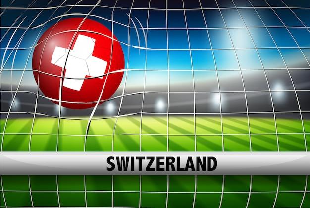 Eine schweizer flagge auf fußball