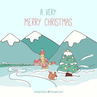 Eine sehr frohen weihnachten in skizzenhaften stil