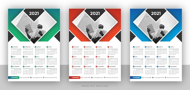 Eine seite bunte geschäftswandkalender-entwurfsschablone