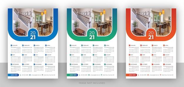 Eine seite bunte wandkalender-entwurfsvorlage für immobilienagentur