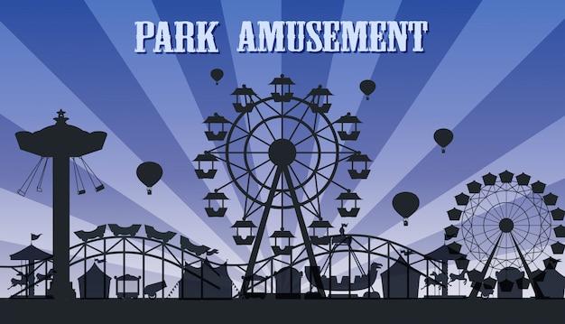 Eine silhouette vergnügungspark vorlage