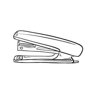 Eine skizze des hefters. schreibwaren, bürobedarf für die papierbindung. handgezeichnetes schwarzweiß