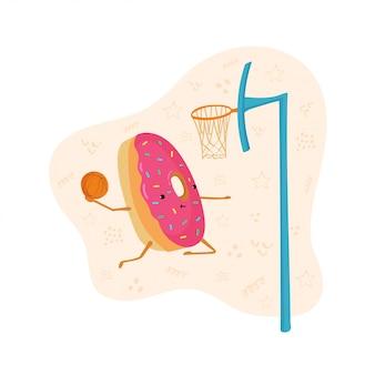 Eine spaßillustration eines donuts, der basketball spielt