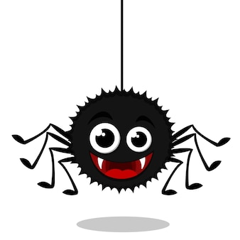Eine spinne hängt an einem netz und lächelt, eine figur auf weißem hintergrund.