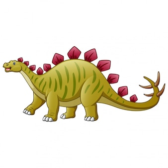 Eine stegosauruskarikatur lokalisiert auf weiß