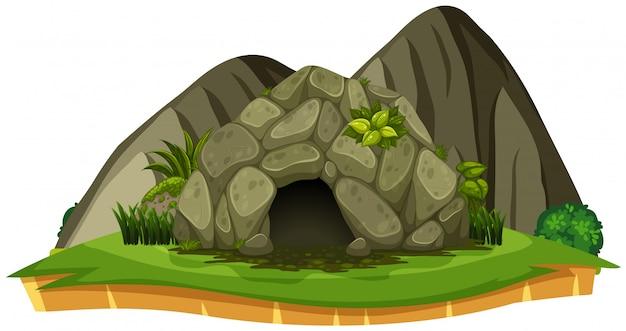 Eine steinhöhle auf weißem hintergrund