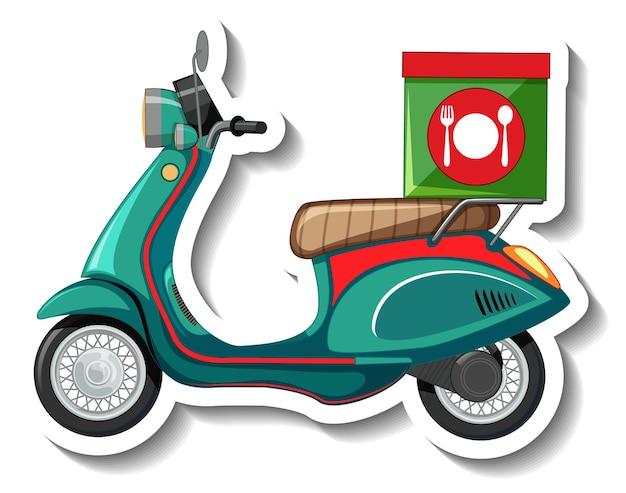 Eine sticker-vorlage mit scooter für die essenslieferung