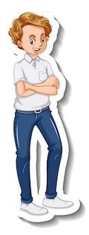 Eine stickervorlage mit einem mann in stehender pose