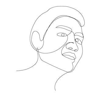 Eine strichzeichnung des asiatischen zweifelsgesichtes..menschenmannkunst der zeichnungslinie.