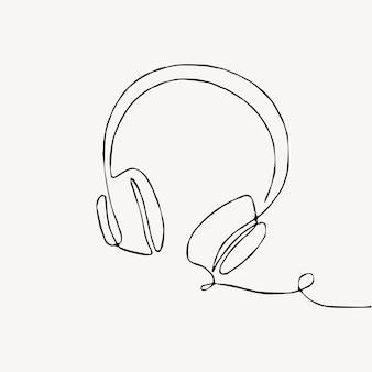 Eine strichzeichnung des kontinuierlichen lineart-designs des kopfhörer-lautsprechergerät-gadgets lokalisiert auf weißem hintergrund. musikelement zum anhören von liedern und wiedergabelisten.