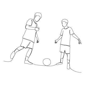 Eine strichzeichnung eines asiatischen kindes, das zusammen glücklich ist, um fußball zu spielen. handgezeichnete leute für den sporttag.