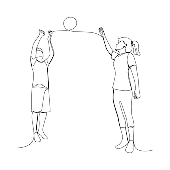 Eine strichzeichnung eines asiatischen paares, das zusammen glücklich ist, um basketball zu spielen. handgezeichnete leute für den sporttag.