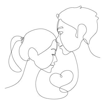 Eine strichzeichnung eines asiatischen paares stirnkuß mit ihrem herzen am 14. februar. zusammengehörigkeitslinie gesichtskuss für die liebe.