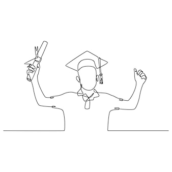 Eine strichzeichnung eines glücklichen jungen absolventen, der eine abschlussuniform trägt und daumen gibt