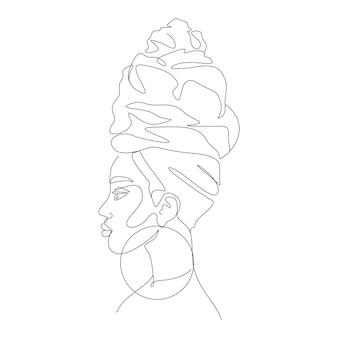 Eine strichzeichnung minimalistische frauengesichtsillustration im strichkunststil