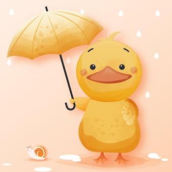 Eine süße ente breitet einen regenschirm für die schnecke aus