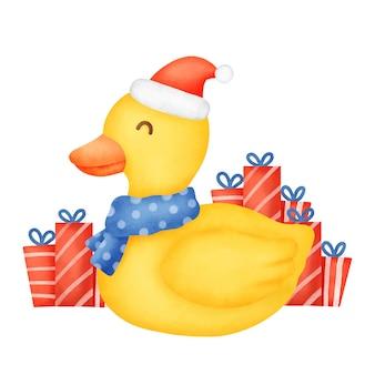 Eine süße ente für weihnachtskarte im aquarellstil.