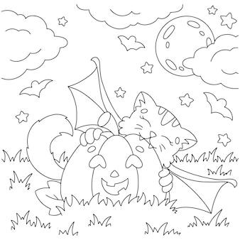 Eine süße fledermaus beißt einen kürbis malbuchseite für kinder halloween thema