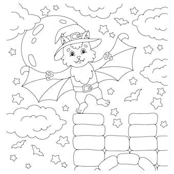 Eine süße fledermaus flog ins schloss malbuchseite für kinder halloween thema