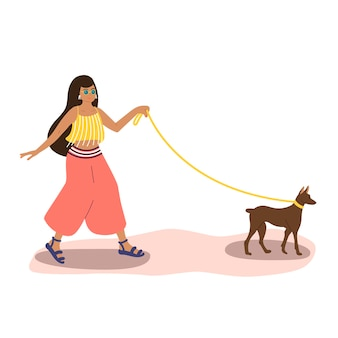 Eine süße mulattin in sommerkleidung geht mit einem hund die straße entlang. vektor-illustration