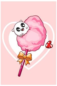 Eine süße süßigkeit auf zuckerwatte am valentinstag