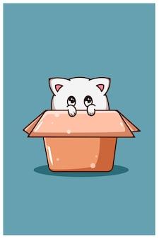 Eine süße und schüchterne katze in der box-cartoon-illustration