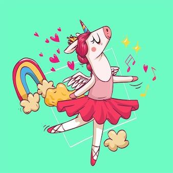 Eine super süße schöne einhorn-ballett-tänzerin tanzt ballerina