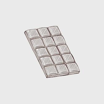 Eine tafel schwarze und weiße schokolade vektorskizze isoliert hintergrund eine ganze tafel schokolade