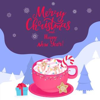 Eine tasse heißen kakao mit süßigkeiten winterlandschaft frohe weihnachten und ein glückliches neues jahr