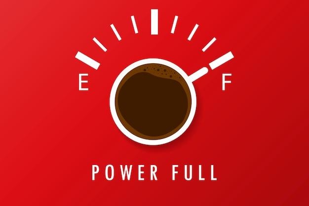Eine tasse kaffee, die voll ist.