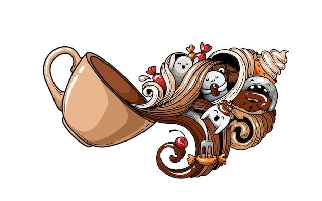 Eine tasse kaffee mit palmen.