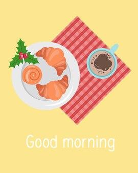 Eine tasse kaffee oder kakao und ein frisches croissant frühstück steht auf dem tisch guten morgen konzept