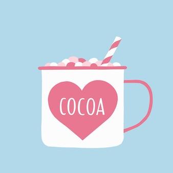 Eine tasse kakao mit marshmallows und einem strohhalm in zarten rosa- und blautönen.