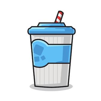 Eine tasse köstliches kaltes wasser in niedlicher strichzeichnung