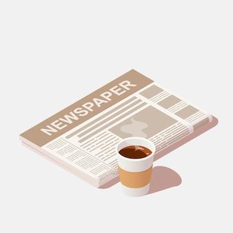 Eine tasse schwarzen kaffee und eine tageszeitung