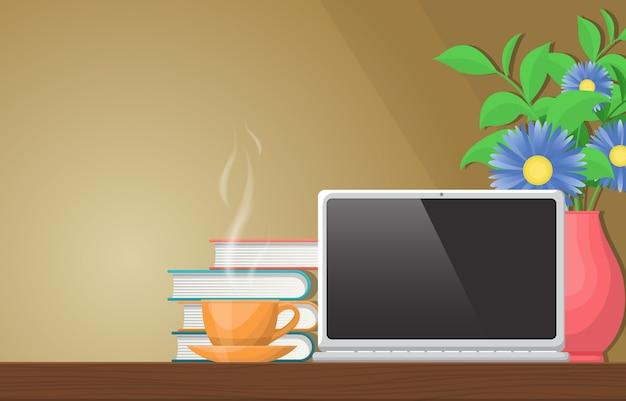 Eine tasse tee auf workbench office work table laptop illustration