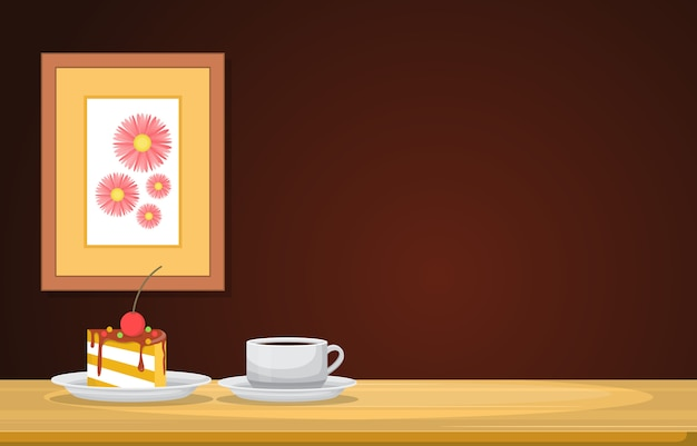 Eine tasse tee und snack auf holztisch in einer raumillustration