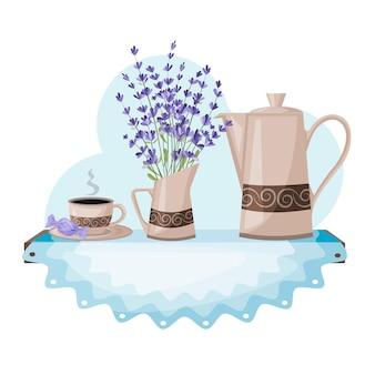 Eine teekanne, eine tasse und ein strauß lavendel das konzept eines französischen frühstücks