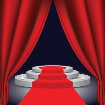 Eine theaterbühne mit einem roten vorhang
