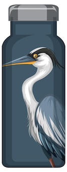Eine thermosflasche mit blauem pelikanmuster