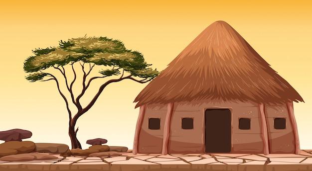 Eine traditionelle hütte in der wüste
