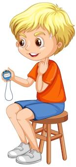 Eine trainer-junge-cartoon-figur, die einen timer hält