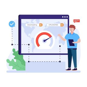 Eine trendige flache illustration einer webgeschwindigkeit