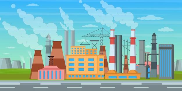 Eine trendige hintergrundillustration der fabrik Premium Vektoren