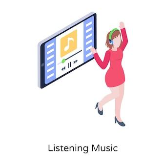 Eine trendige illustration der musikaufnahme im isometrischen stil