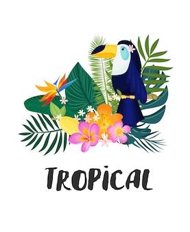 Eine tropische karte mit palmblättern und exotischen blumen. das sommer-dschungel-design ist ideal für flyer, postkarten, etiketten und einzigartige designs. vektor