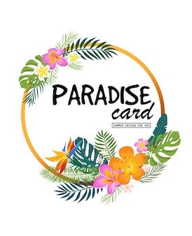 Eine tropische karte mit palmblättern und exotischen blumen sommer-dschungel-design ist ideal für flyer
