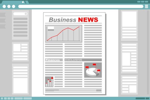 Eine vektorillustration der wirtschaftszeitung mit browserfensterrahmen
